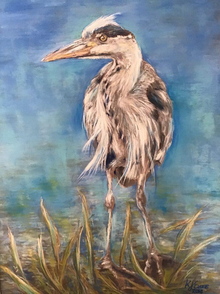 Heron Pastel Painting Merseyside