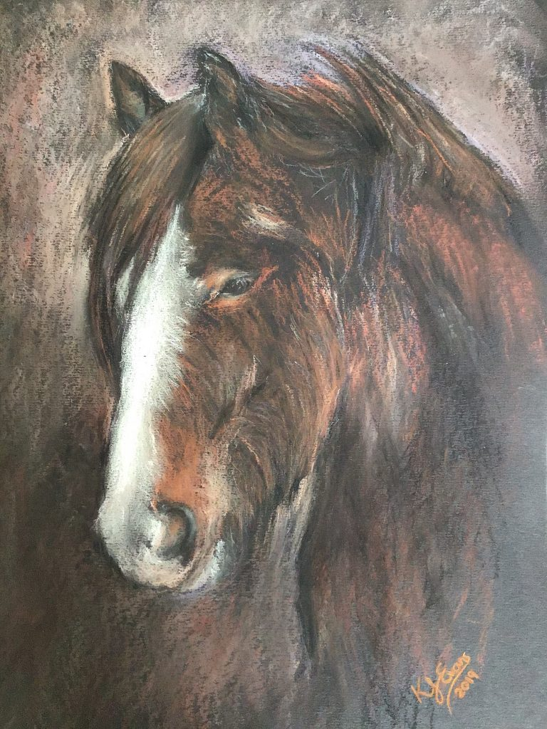 Pastel Shire Horse Drawing