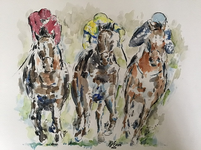 Horse Racing Watercolour Painting