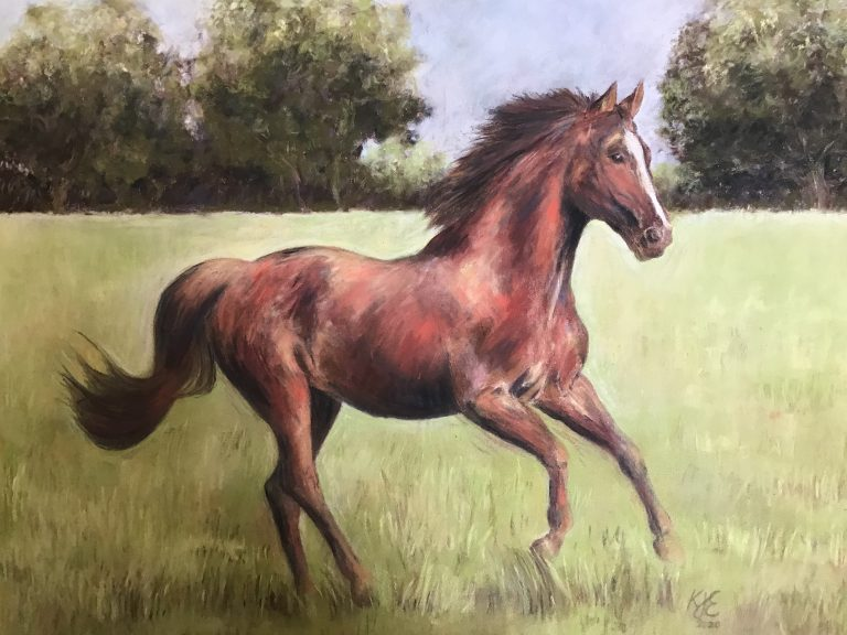 Running Free Horse Pastel Painting