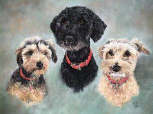 Clemmie, Bailey & Lola Pastel Dog Portrait